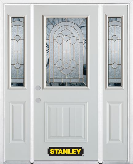 Stanley Doors 64.5 inch x 82.375 inch Radiance Brass 1/2 Lite 1-Panel Prefinished White Right-Hand Inswing Steel Prehung Front Door with Sidelites and Brickmould