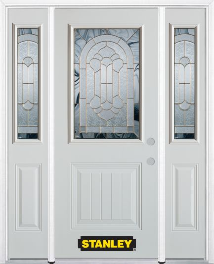 64-inch x 82-inch Radiance 1/2-Lite 1-Panel White Steel Entry Door with Sidelites and Brickmould