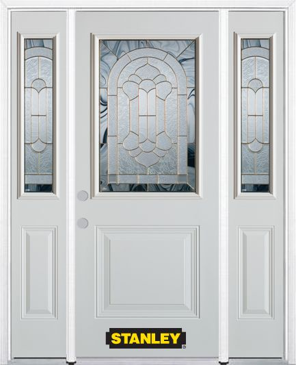 68-inch x 82-inch Radiance 1/2-Lite 1-Panel White Steel Entry Door with Sidelites and Brickmould