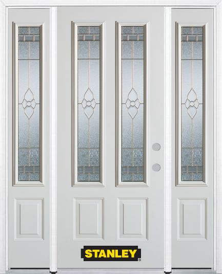 64-inch x 82-inch Marguerite 2-Lite 2-Panel White Steel Entry Door with Sidelites and Brickmould