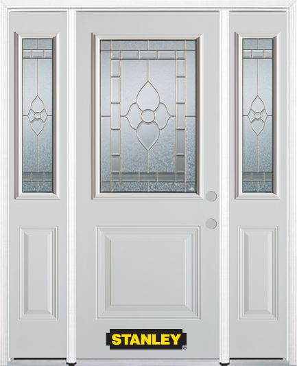 66-inch x 82-inch Marguerite 1/2-Lite 1-Panel White Steel Entry Door with Sidelites and Brickmoul...