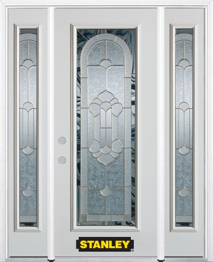 68-inch x 82-inch Radiance Full Lite Finished White Steel Entry Door with Sidelites and Brickmoul...