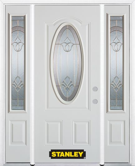 68-inch x 82-inch Marilyn Oval 3/4-Lite White Steel Entry Door with Sidelites and Brickmould