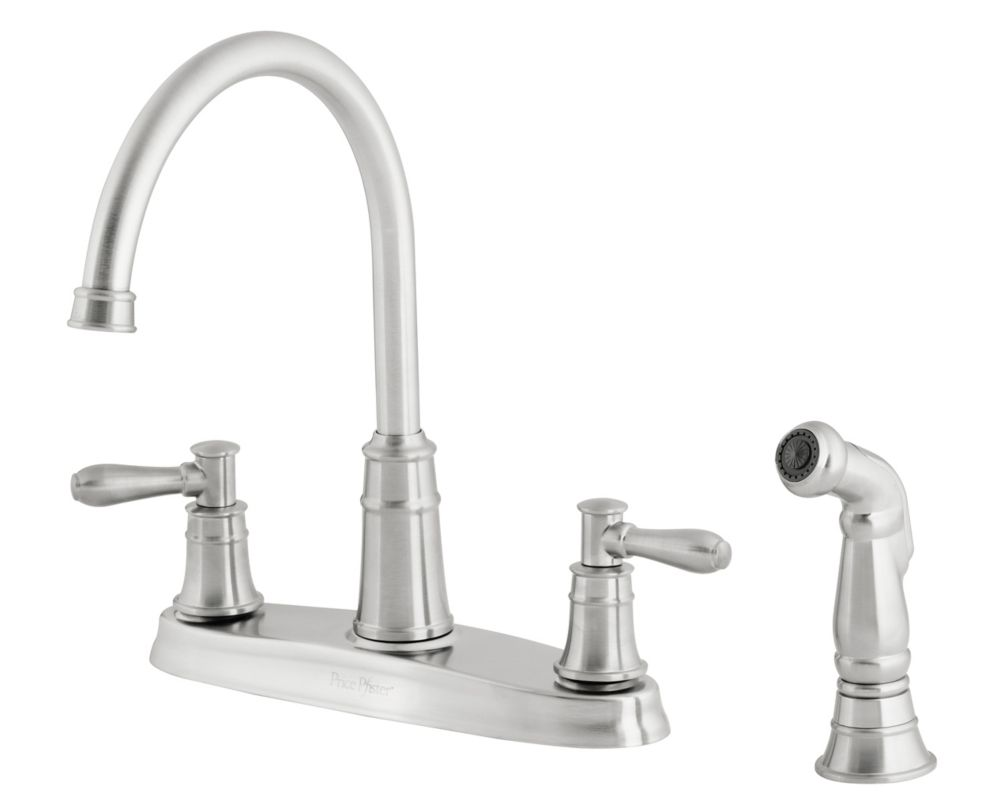 Harbor Lead Free Four-Hole Two-Handle High-Arc Faucet in Stainless Steel