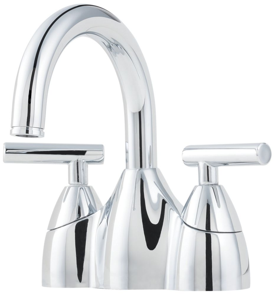 Pfister contempra lead free 4 inch high arc centerset lavatory faucet in polished chrome the for Bathroom sink faucets 4 inch centerset