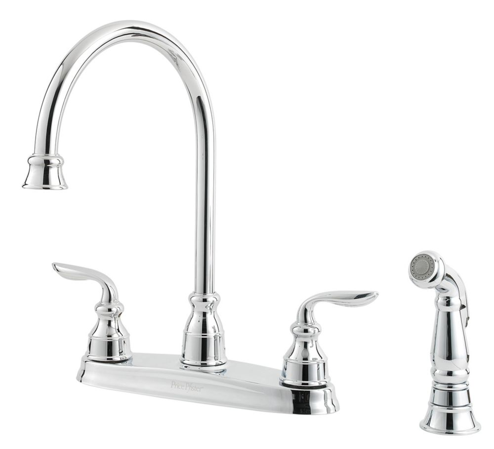 Avalon Lead Free Four-Hole Two-HandleKitchen Faucet in Polished Chrome