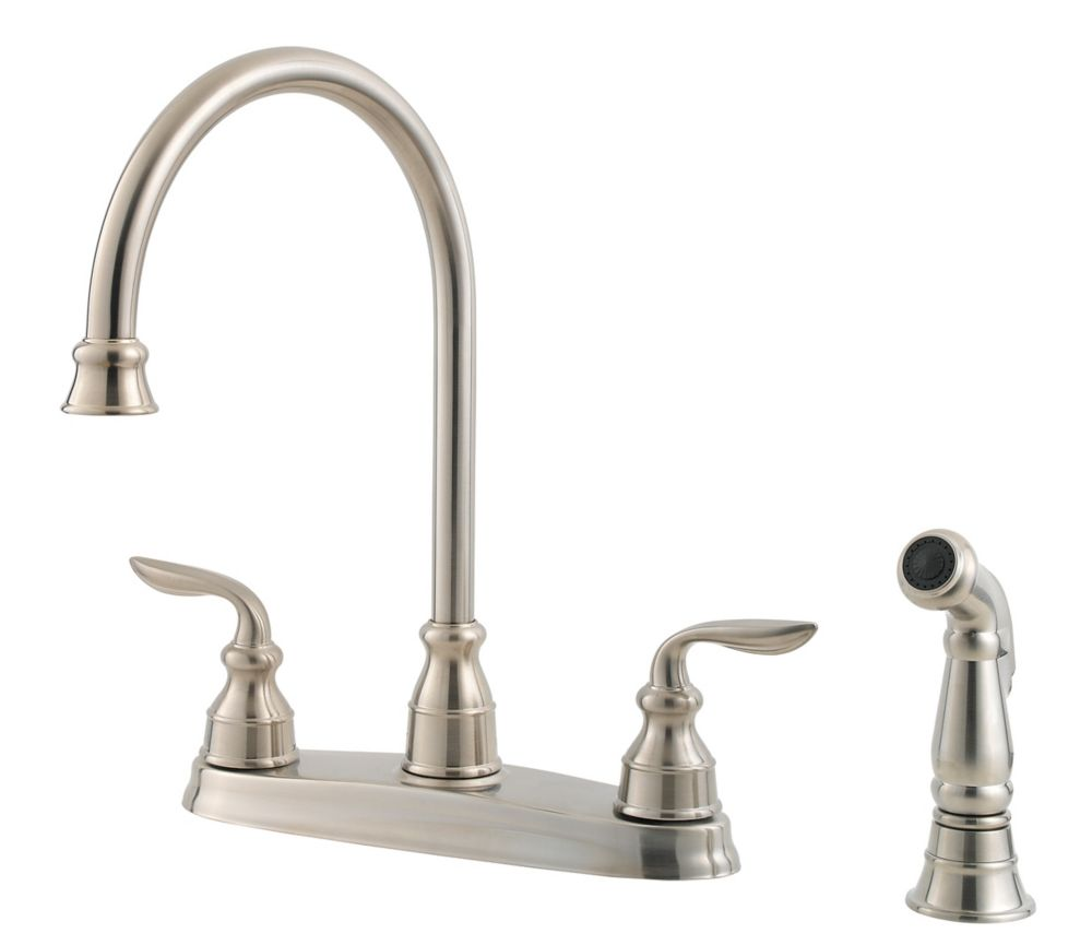 Avalon Lead Free Four-Hole Two-Handle Kitchen Faucet in Stainless Steel PF0364CBS Canada Discount