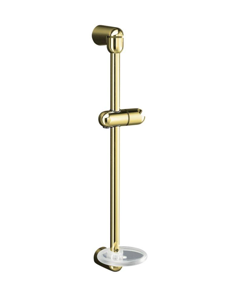 """Mastershower 22-3/4"""" Shower Slide Bar In Vibrant Polished Brass"""