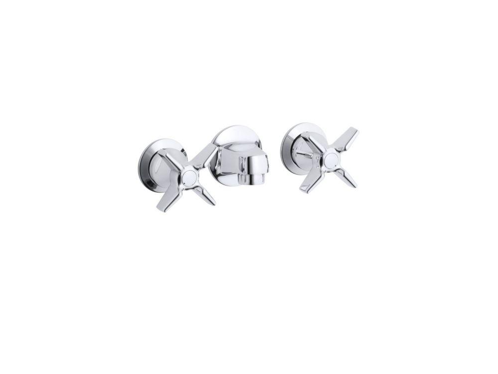 Robinet de lavabo en dos d'étagère Triton avec drain à grille et poignées cruciformes