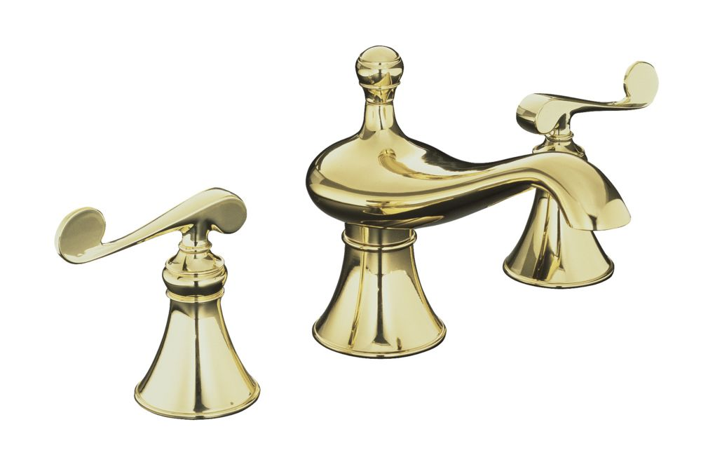 Revival Widespread Bathroom Faucet in Vibrant Polished Brass Finish