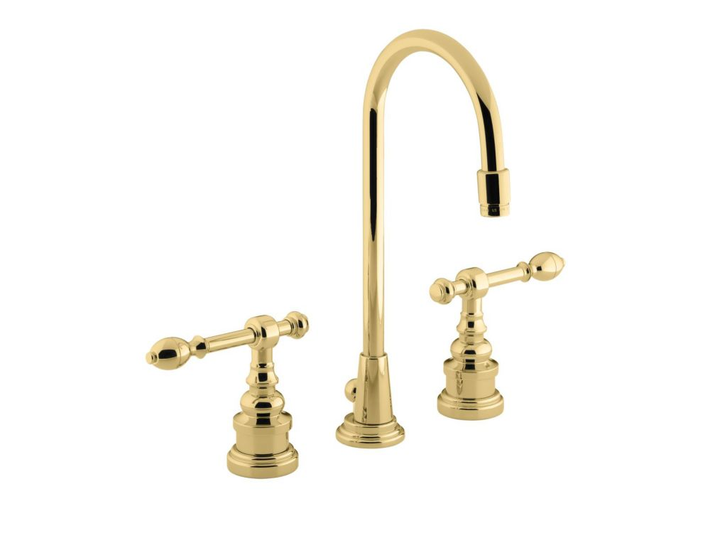 IV Georges Brass Bathroom Faucet with High Country Swing Spout and Lever Handles in Polished Bras...