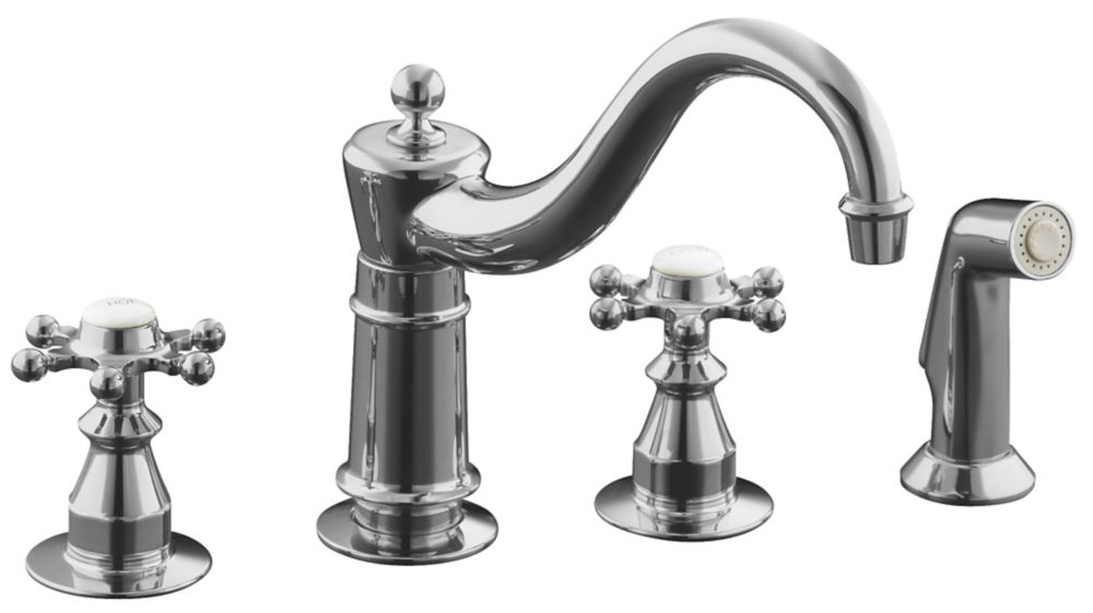 Robinets de lavabo Antique avec vaporisateur latéral et poignées à six broches