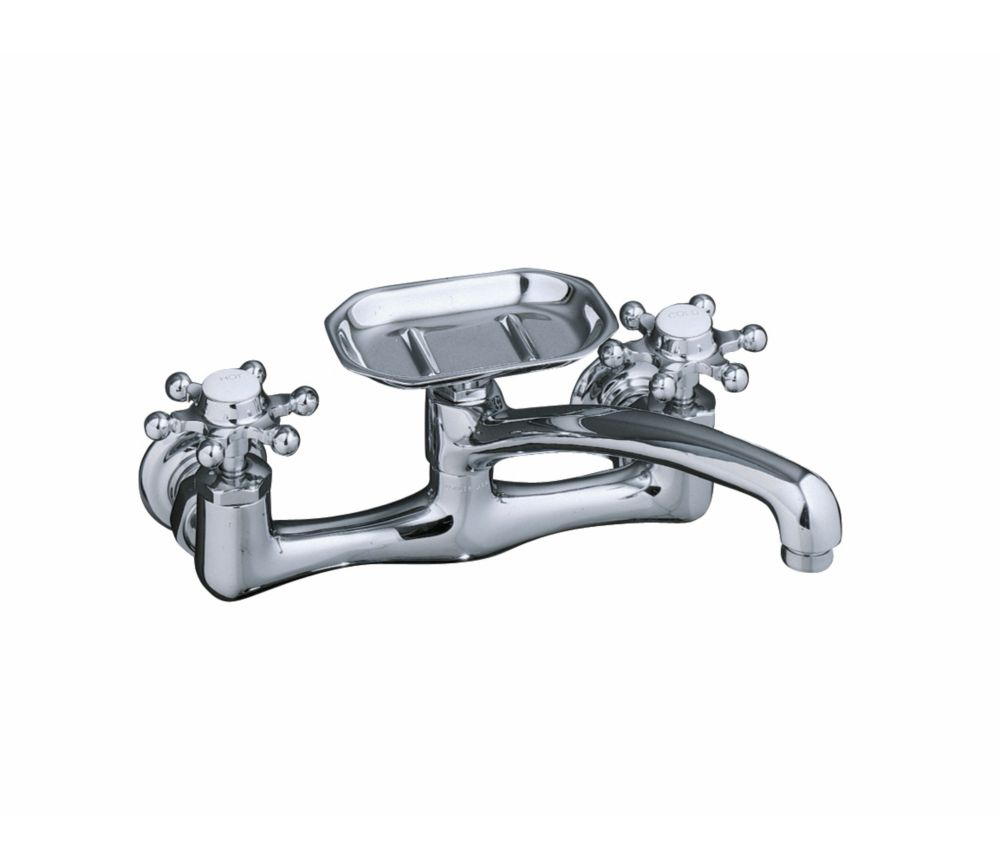 Antique Wall-Mount Kitchen Sink Faucet in Polished Chrome Finish