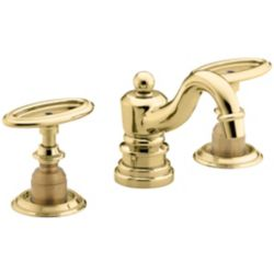 KOHLER Antique Widespread Bathroom Faucet in Vibrant Polished Brass Finish