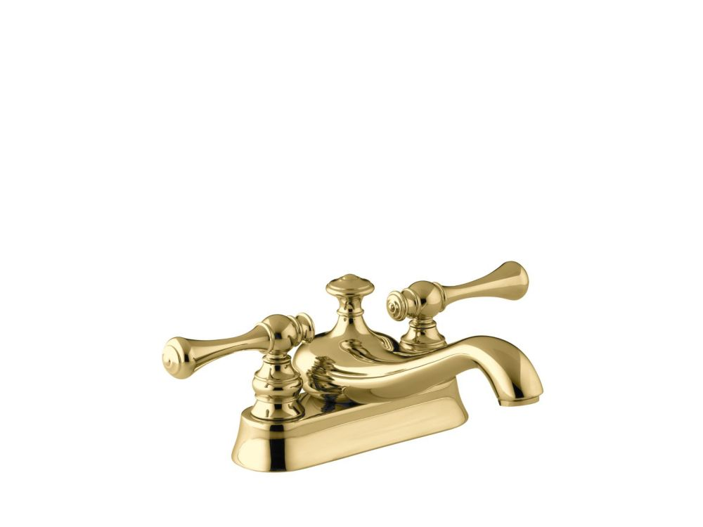 Revival Centreset Bathroom Faucet in Vibrant Polished Brass Finish