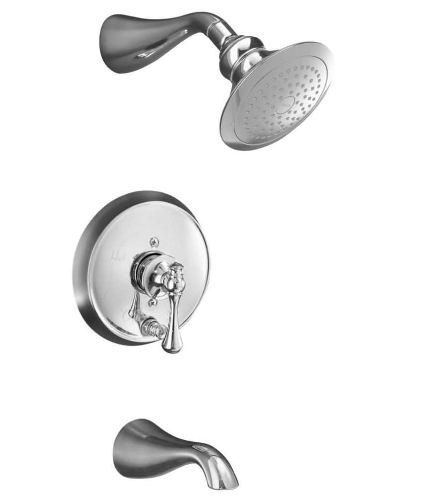 Revival Rite-Temp Pressure-Balancing Bath/Shower Faucet in Polished Chrome