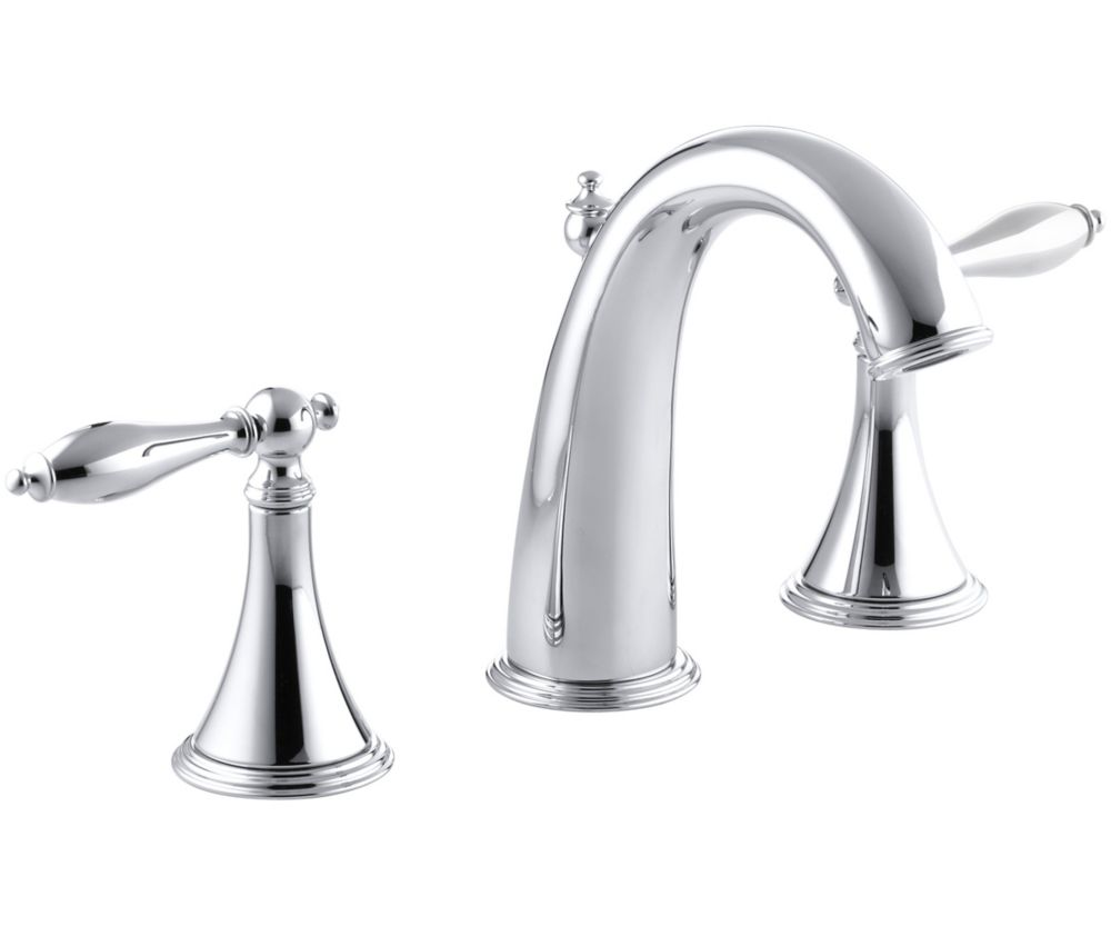 Finial Traditional Widespread Bathroom Faucet with Lever Handles in Polished Chrome