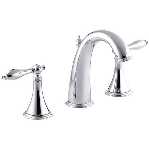 KOHLER Finial(R) widespread bathroom sink faucet with lever handles
