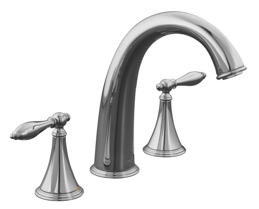 Finial Traditional Deck-Mount High-Flow Bathroom Faucet in Polished Chrome Finish