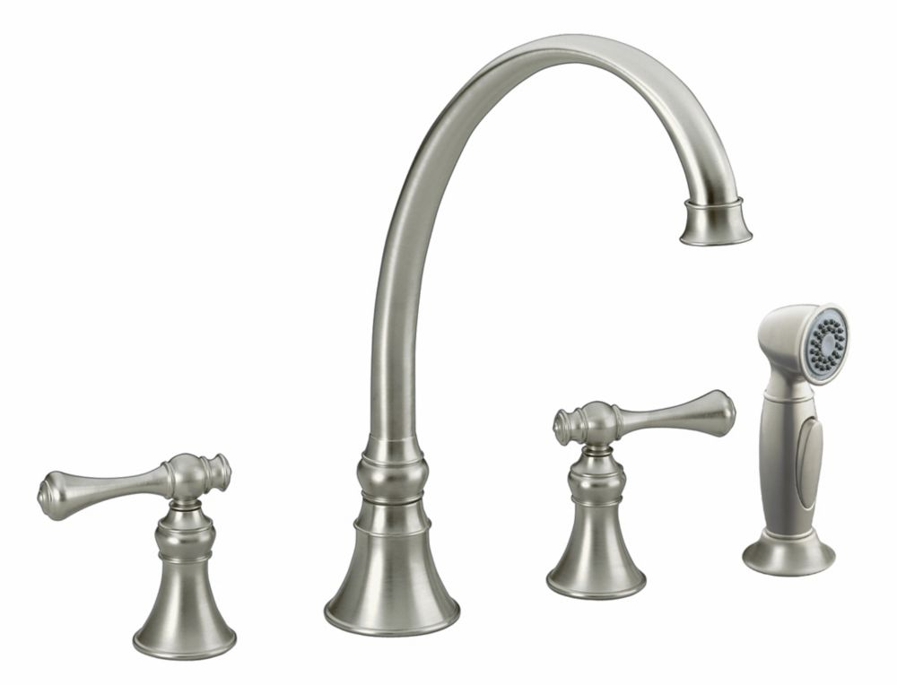 Revival Kitchen Sink Faucet In Vibrant Brushed Nickel K-16109-4A-BN Canada Discount