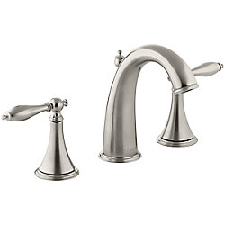 KOHLER Finial(R) widespread bathroom sink faucet with lever handles