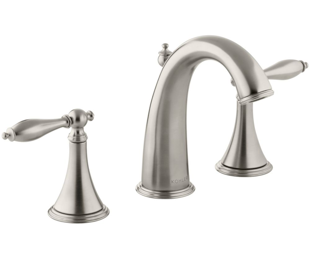 Finial Traditional Widespread Bathroom Faucet with Lever Handles in Vibrant Brushed Nickel