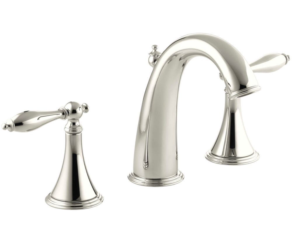 Finial Traditional Widespread Bathroom Faucet with Lever Handles in Vibrant Polished Nickel