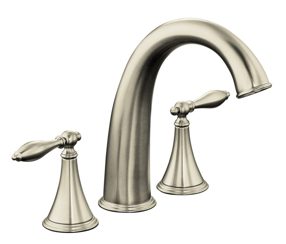 Finial Traditional Deck-Mount High-Flow Bathroom Faucet in Vibrant Brushed Nickel Finish