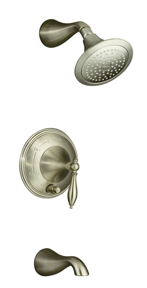 KOHLER Finial Traditional Rite-Temp Pressure-Balancing Bath/Shower Faucet in Vibrant Brushed Nickel