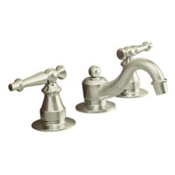 KOHLER Antique Widespread Bathroom Faucet in Vibrant Brushed Nickel Finish