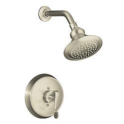 KOHLER Garniture de robinet de douche régulateur de pression Revival Rite-Temp avec avec poignée à levier à rouleau, pomme de douche standard et bride