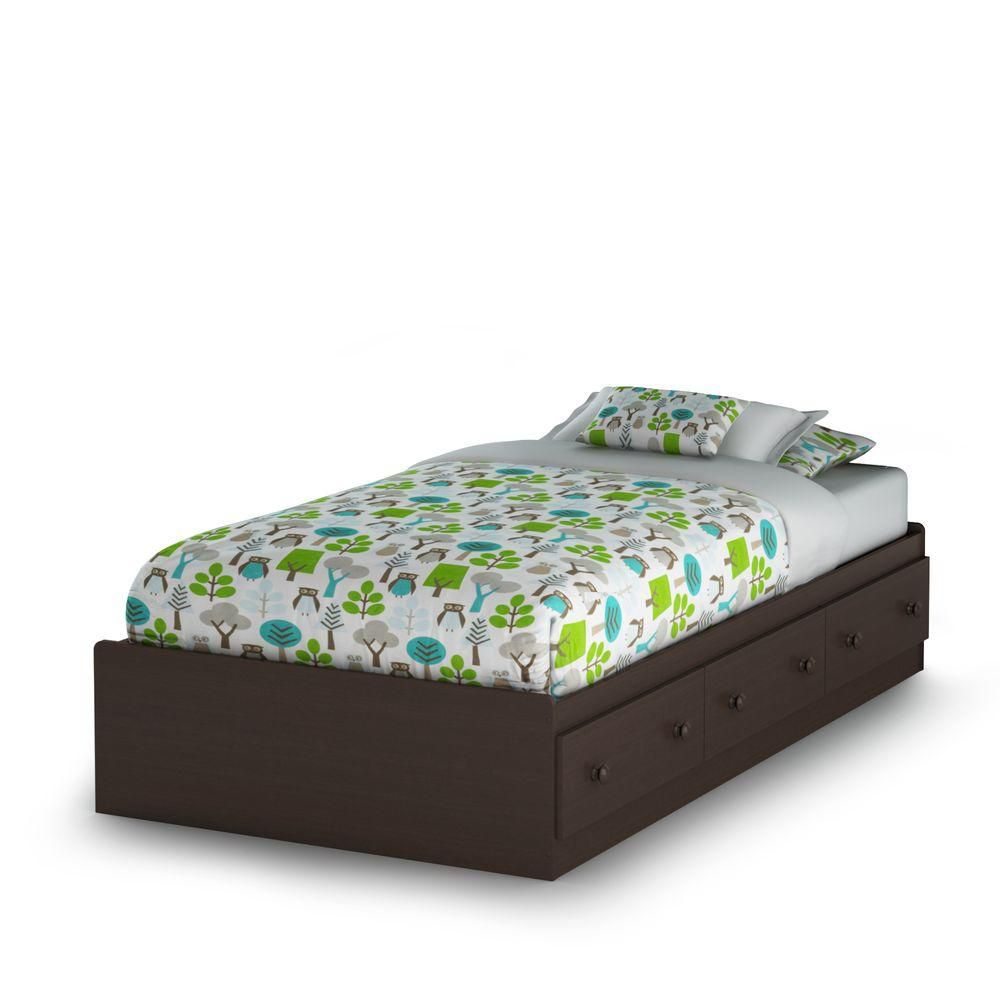 Summer Breeze Twin Mates Bed (39 ft.) with 3 Drawers, Chocolate