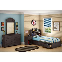 South Shore Brownie Twin 39 Inch Bookcase Headboard, Chocolate