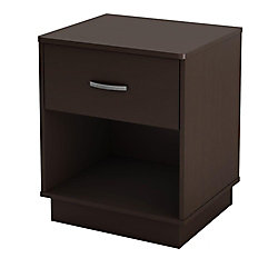Logik 1-Drawer Nightstand, Chocolate
