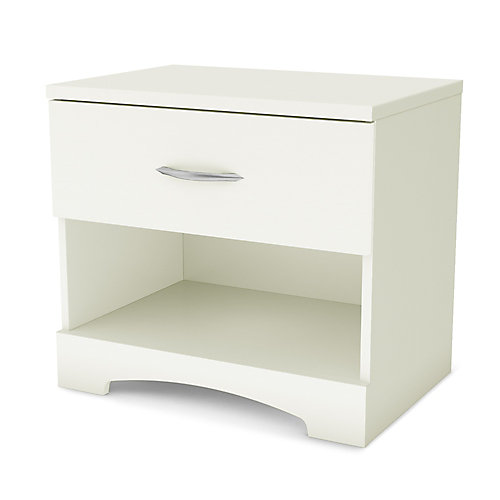 Step One 1-Drawer Nightstand, Pure White