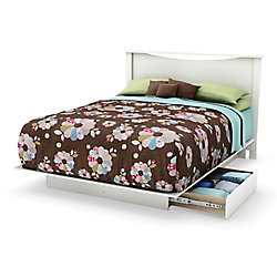 South Shore Majestic Full 54-inch/Queen 60-inch Platform bed with storage, Pure White