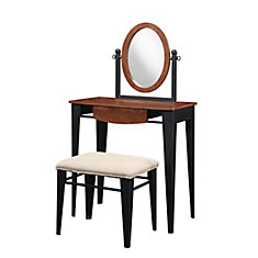 Traditional Faux Mahogany with Marquetry Vanity, Mirror & Bench