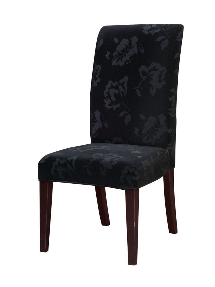 Housse en velours à imprimé floral ton sur ton noir �paquet1 (sagence à la chaise 741-440)