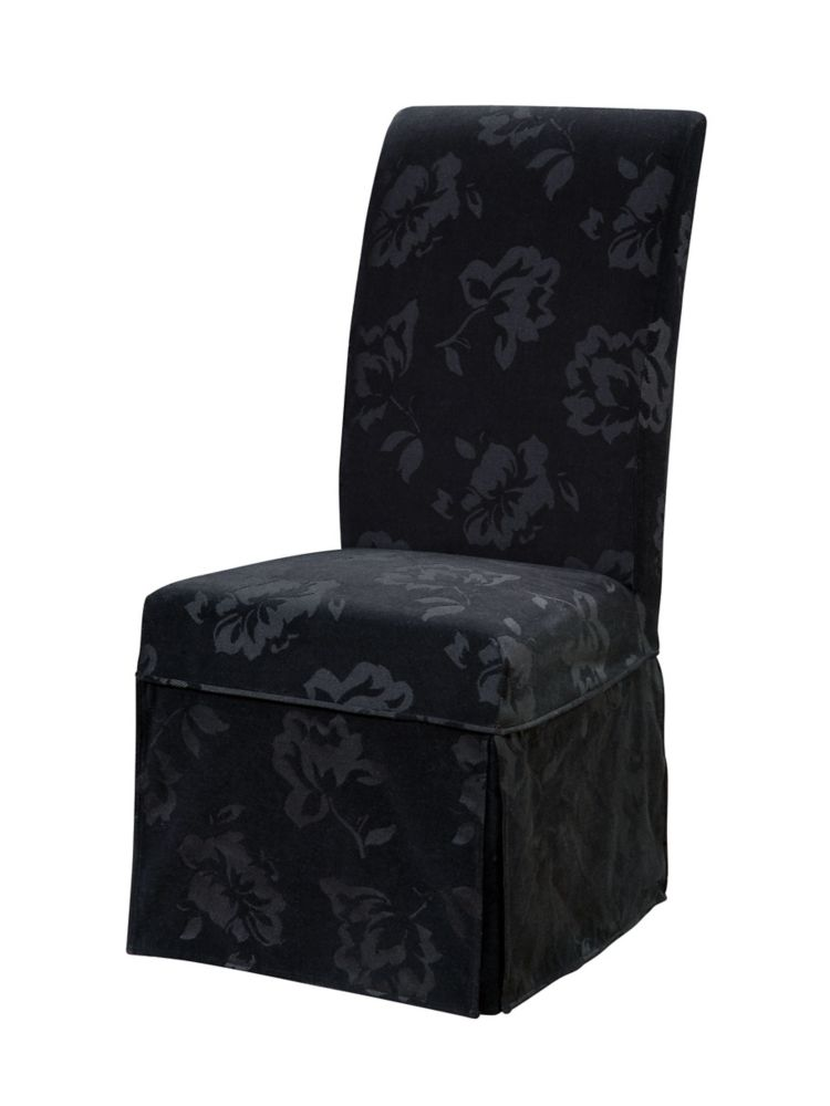 Velvet Tone-on-Tone Floral Black Skirted Slip Over - Pack 1 (Fits 741-440 Chair)