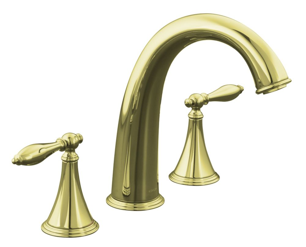 KOHLER Finial Traditional Deck-Mount High-Flow Bathroom Faucet in Vibrant French Gold Finish