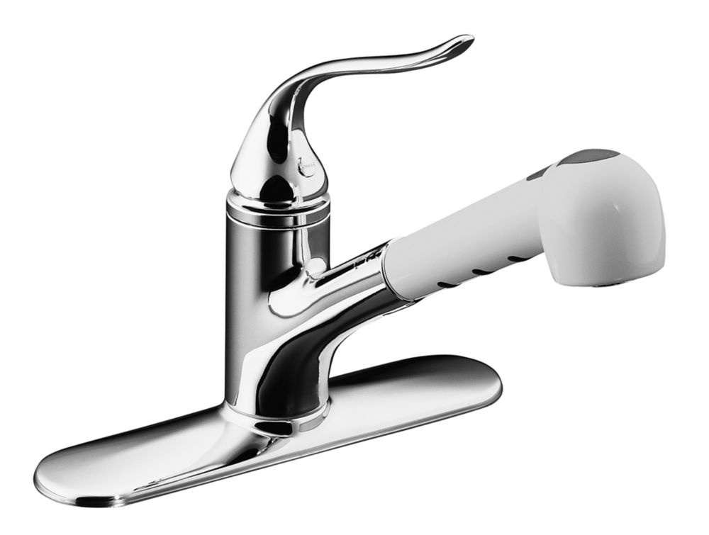 Coralais Single-Control Pullout Spray Kitchen Sink Faucet In Polished Chrome