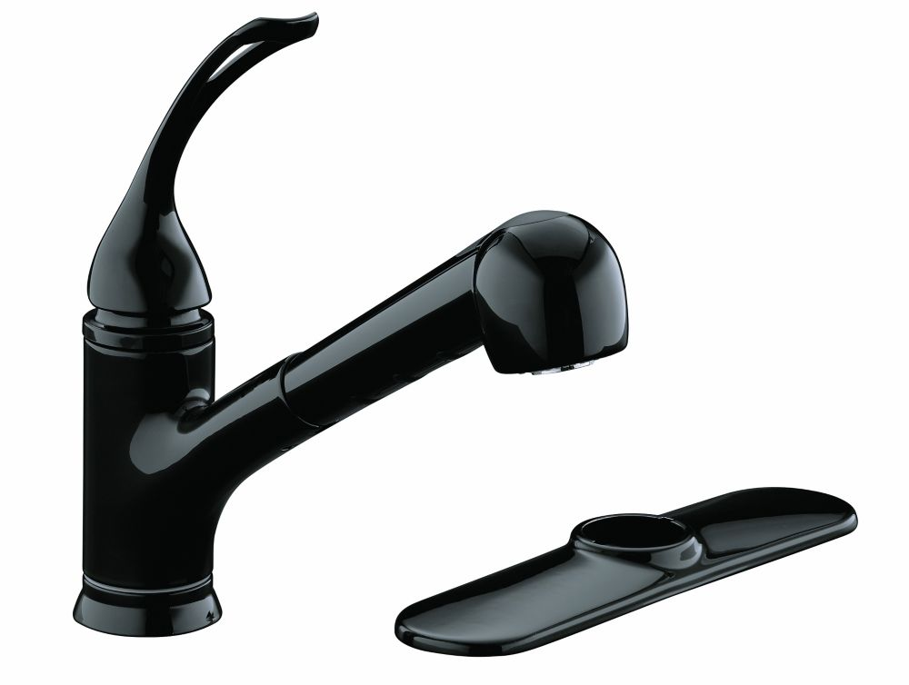 Coralais Single-Control Pullout Spray Kitchen Sink Faucet In Black Black