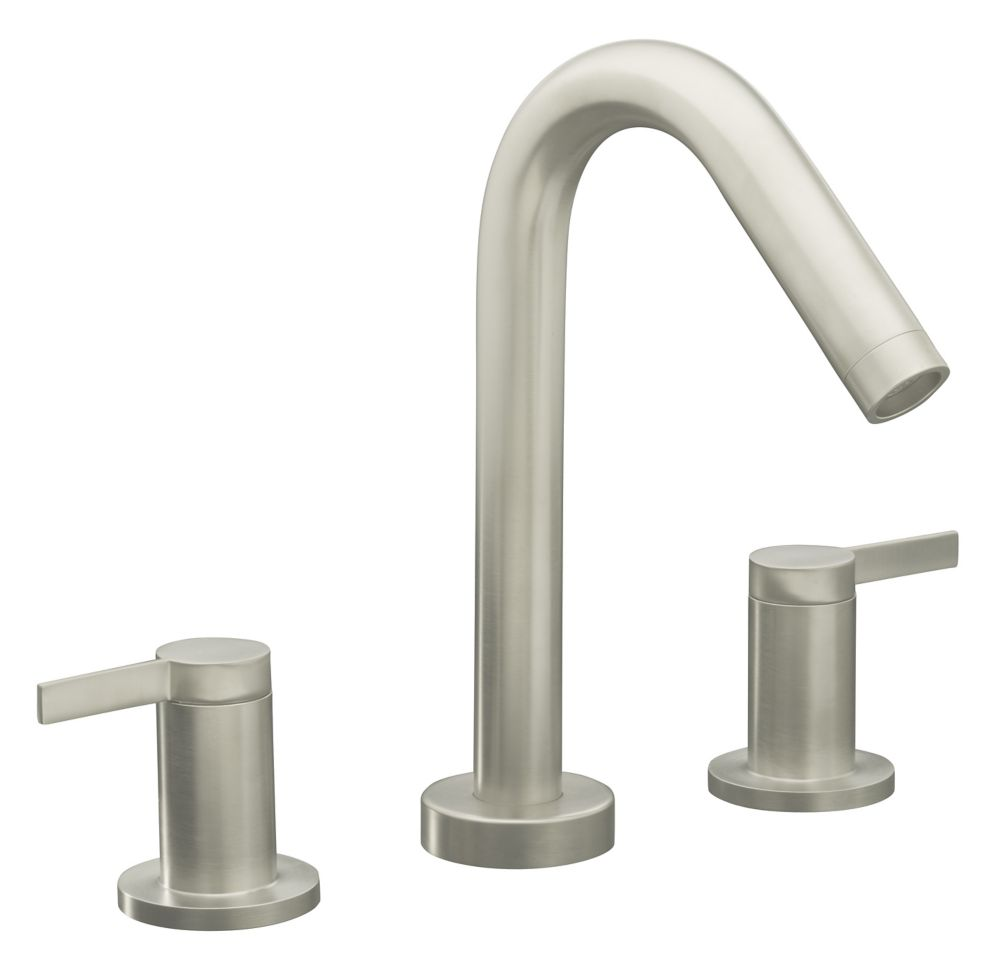 Stillness Deck-Mount High-Flow Bathroom Faucet in Brushed Nickel Finish
