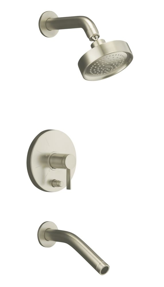 Stillness Rite-Temp Pressure-Balancing Bath/Shower Faucet in Vibrant Brushed Nickel