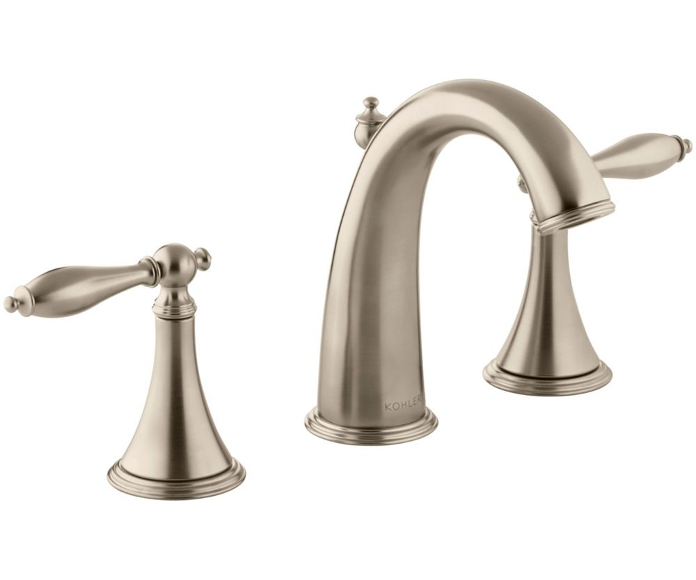Finial Traditional Widespread Bathroom Faucet with Lever Handles in Vibrant Brushed Bronze