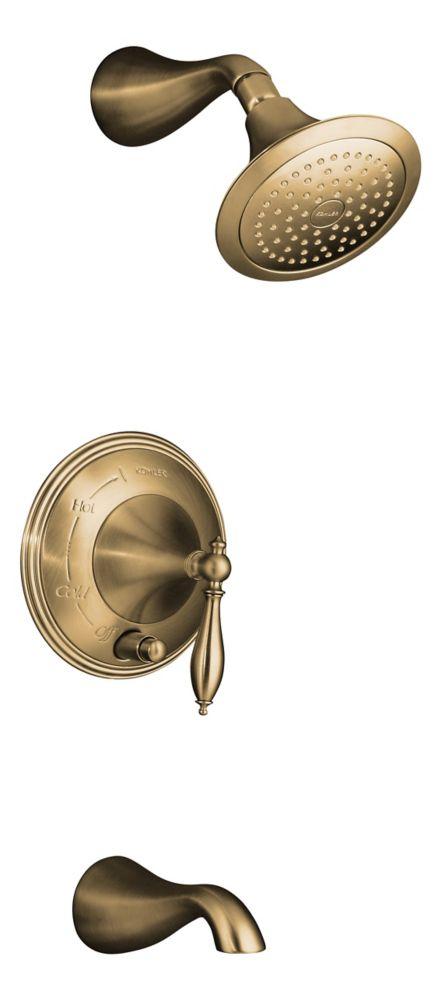 KOHLER Finial Traditional Rite-Temp Pressure-Balancing Bath/Shower Faucet in Vibrant Brushed Bronze