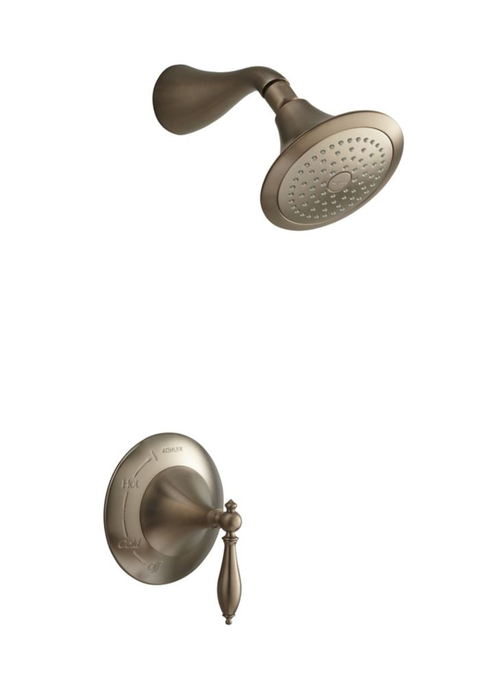 Finial Traditional Rite-Temp Pressure-Balancing Shower Faucet in Vibrant Brushed Bronze