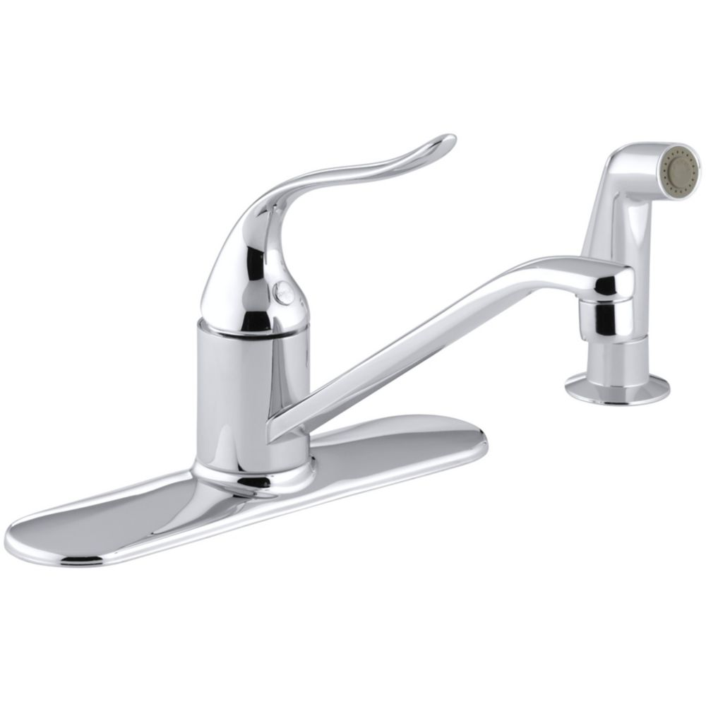 KOHLER Coralais Single-Control 3-Hole Kitchen Sink Faucet With Matching Finish Sidespray In Polished Chrome