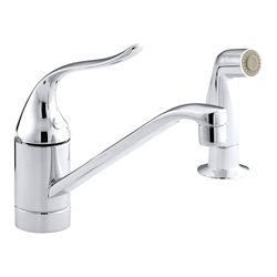 KOHLER Coralais Single-Handle Kitchen Sink with Side Sprayer in Polished Chrome