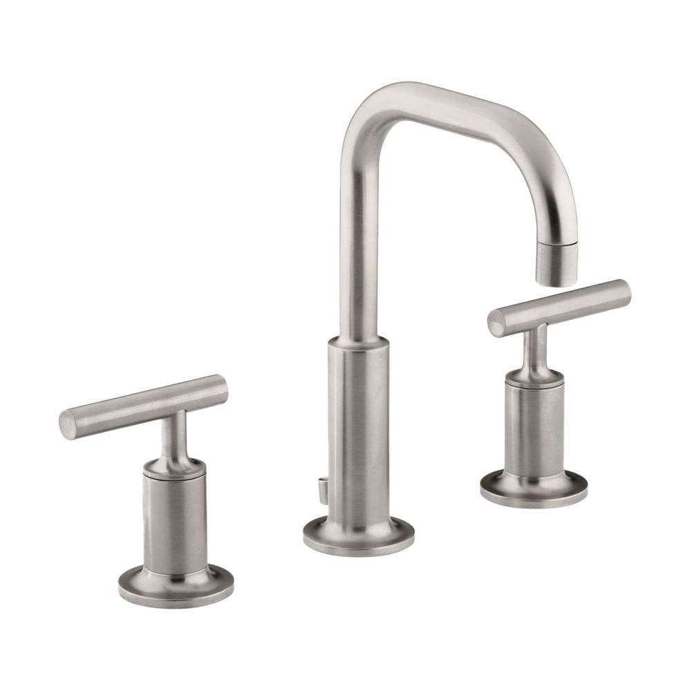 Bathroom Faucets Brushed Nickel Widespread : KOHLER Purist Widespread Bathroom Faucet in Vibrant Brushed Nickel ...